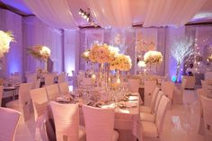 White, Gold and Lavender table decor