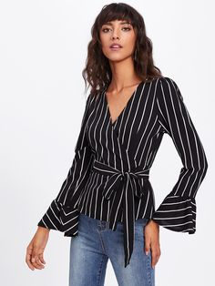 Shop Surplice Neckline Flute Sleeve Striped Top at ROMWE, discover more fashion styles online. Romwe, Trendy Outfits, Fashion Outfits, Style Fashion, Future Clothes, Fall Shirts, Rompers Women, Women's Rompers, Long Sleeve Romper