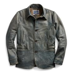 Made from lightweight vegetable-tanned cowhide. Dyed with true indigo. Inspired by a car coat. Brushed cotton moleskin lining. Black Leather Bomber Jacket, Denim Jacket Men, Leather Jackets, Celebrity Outfits, Western Shirts, Gentleman Style, Women Brands, Indigo, Menswear