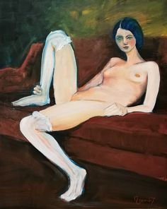 Nude in sofa, oil on canvas 40x50 by Veen