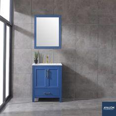 "Navy 30"" Vanity shown in Deep Blue | Available at Avalon Flooring | Starting at $1,244 | #bathroomvanity #bathroomvanities #vanities"