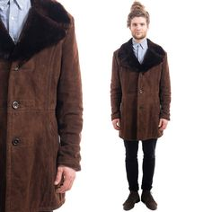 Mens Vintage 70s SHEARLING Coat