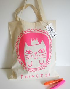 Tote Bag - Little Houses - Cotton tote Princess Kitty, Cat Bag, Cotton Bag, Canvas Tote Bags, Screen Printing, Shopping Bag, Creations, Pouch, Reusable Tote Bags