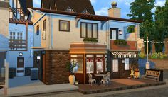 Sims 4 - Café des Brumes Another lot for my (kind of) japenese area ! This time, it's a café, with a decorative grocery and community garden. I decided to make a more classical deco, and not a...