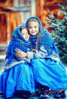 Two sisters in the Russian countryside