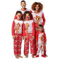 5386038a0f Christmas Deer Print Red O-neck Long Sleeve Family Matching Pajama  Nightwear Set