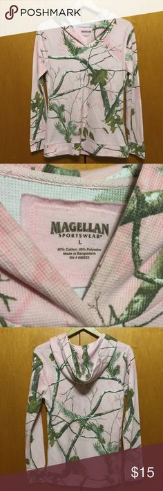 Magellan Camo Hoodie Thermal Cute Thermal in pink camp print. Has good. Tag says large but fits like a small unless you like your thermals tighter. No flaws. Magellan Tops Sweatshirts & Hoodies