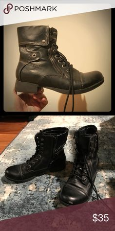 """Guess Combat Boots """"Banks"""" Size 8 Only worn for 2 days. Still incredibly shiny/new!! Just the one small scuff mark (Sharpie anyone?). LOVE them.. just, sadly too small. As much as I try- can't. Guess Shoes Combat & Moto Boots"""