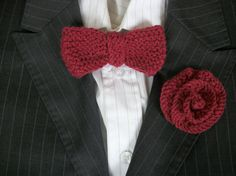 hand knit buttonhole and bow tie Groom Best by thekittensmittensuk, £9.99