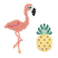 """Les broches en Kit """"Pop Up"""" : , un ananas et un flamant rose à réaliser vous-même. Tout le matériel vous est fourni ainsi qu'une fiche DIY détaillée avec diagrammes, patrons, explications, schémas et photos."""