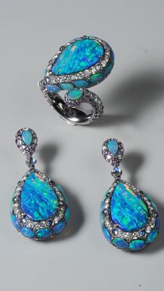 Nature Black Opal Ring and Earring