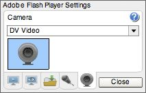 Adobe - Flash Player : Help - Camera Settings