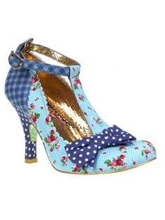 Irregular Choice Bloxy T-bar round toe high heel shoes Blue - House of Fraser