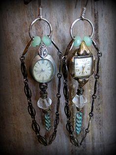 Vintage Watch Chrystal Chain Green Gemstone by ferdandbird on Etsy Vintage Jewelry Crafts, Recycled Jewelry, Jewelry Art, Jewelry Gifts, Jewelery, Handmade Jewelry, Jewelry Design, Vintage Jewellery, Vintage Earrings