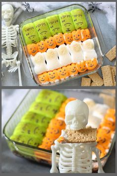 This Halloween s'mores dip needs only two ingredients, takes minutes to make, and is a super-fun Halloween party food idea. Halloween Party Treats, Halloween Celebration, Halloween Peeps, Halloween Foods, Spooky Halloween, Halloween Decorations, Halloween Desserts, Halloween Customs, Halloween Couples