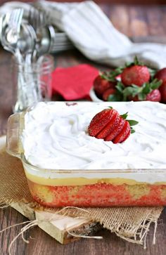 All this takes is a box cake mix, Jello, pudding and Cool Whip. I love how easy it is and how it is so light and refreshing.