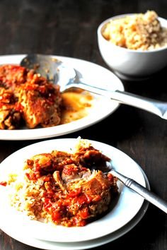Tender Braised Chicken in a Tomato Sauce with Wine and Mustard | http://cookswithcocktails.com/tender-braised-chicken-in-a-tomato-sauce-with-wine-and-mustard/