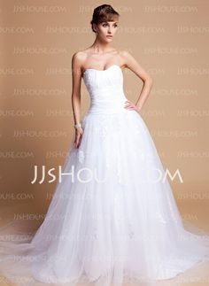 Wedding Dresses - $197.59 - Ball-Gown Sweetheart Chapel Train Tulle Charmeuse Wedding Dresses With Lace (002012136) http://jjshouse.com/Ball-Gown-Sweetheart-Chapel-Train-Tulle-Charmeuse-Wedding-Dresses-With-Lace-002012136-g12136