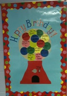 Put all birthday in the gum ball machine. Pull out the birthdays of the week out side the gum ball machine. Preschool Birthday Board, Birthday Bulletin Boards, Classroom Birthday, Birthday Wall, Preschool Bulletin Boards, Toddler Classroom, School Decorations, School Themes, Classroom Projects