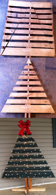 DIY Christmas Tree for your front porch out of a pallet! You could even put a burlap bag around the bottom to cover the base/cords...or use a tree skirt!: