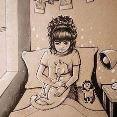 Inktober 2018 / precious  character art, cat Draw Something, Traditional Art, Inktober, Character Art, My Arts, Felt, Cats, Drawings, Inspiration
