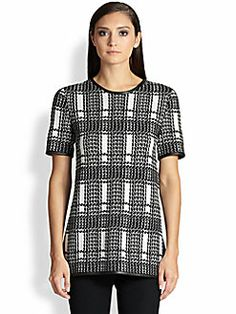 St. John Leather-Trimmed Knit Jacquard Tunic Best