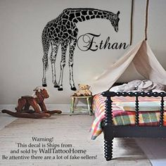 Name Wall Stickers Decals Giraffe Decal Vinyl For Boy Nursery Bedroom Home Decor Interior Design Art Murals MN832