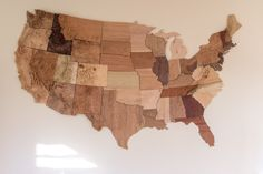 The Continental United States as a wood map (Outdoor Wood Map) Wooden Map, United States Map, Custom Map, 3d Prints, State Map, Topographic Map, Old Wood, Geology, Wood Art