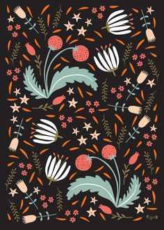 Floral Fusion - Artwork for Surface Pattern design - Poppy & Red