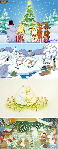 Moomin Tove Jansson, Christmas Desktop Wallpaper, Anime Japan, Old Christmas, Cute Characters, Vintage Prints, All Art, Troll, Finland