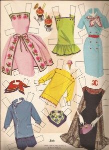 Clothes for the 1962 Barbie paper doll.