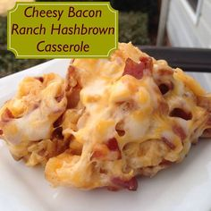 Simple Fare, Fairly Simple: Cheesy Bacon Ranch Hashbrown Casserole use cauliflower instead of potatoes Hash Brown Casserole, Casserole Dishes, Potato Casserole, I Love Food, Good Food, Yummy Food, Yummy Treats, Pork Recipes, Cooking Recipes