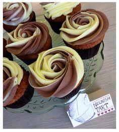 Neenish Tart Cupcakes - Lemon and Chocolate on a Vanilla Cupcake #petalcupcake #cupcakes