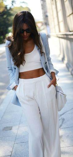 White Crop Top, White Pants + Blue Blazer