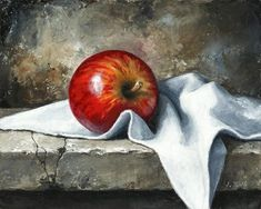 Apple on the stone board by Imre Toth Oil ~ 8 x 10 Apple Painting, Fruit Painting, Still Life Drawing, Still Life Oil Painting, Still Life Pictures, Still Life Artists, Fruits Drawing, Fruit Art, Pictures To Paint