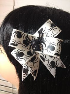 White Black Spider Glitter Hair Bow Clip by ClassyNTrashy on Etsy, $4.50