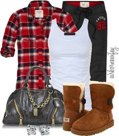 Casual lounge pants and a muscle shirt. Throw some Uggs and a flannel for a quick grocery store run and look fab!