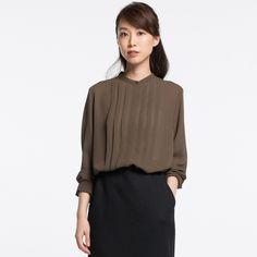 WOMEN Georgette Long Sleeve Blouse  | UNIQLO