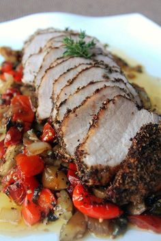 Spice-Rubbed Pork Loin with Ratatouille and Mashed Potatoes. Yum!