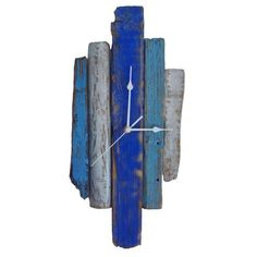 Clock - Blue & White Driftwood Wall Clock £44.99