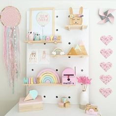 Peg board perfection by the very clever @a_perfect_obsession setting our mountain heart set on pastel pink, mint and gold...available now on the website...link in bio #kidsroom #pegboard #pastels #girlsroom #girl #shelfie #mountains #hearts #interiors