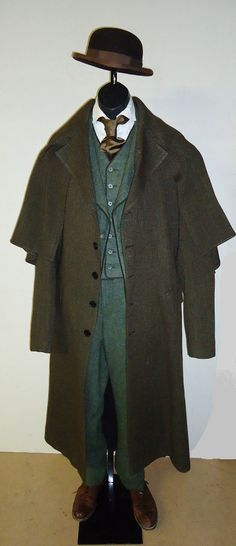 1860's - 1870's - Four Button Suit w/ Caped Overcoat