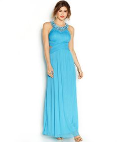 B Darlin Juniors' Halter Cut-Out Prom Gown
