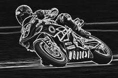 Detailed chalk motorbike artwork.