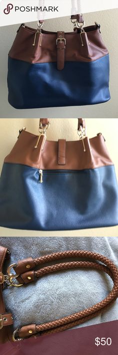 Navy Blue and Brown Wilson's Leather Purse Lightly loved, real leather, numerous pockets, magnetic snap to close, zipper in purse to close it as well, all minute damages are pictured above, open to offers!! Wilsons Leather Bags Totes