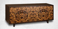 Expresso Bean stain finish Credenza with a Facets pattern called Retro Floral