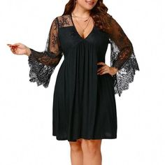 Plus Size Women Lace Patchwork V-neck Mini Dress - Plus Size Fall Dresses - Ideas of Plus Size Fall Dresses Plus Size Mini Dresses, Plus Size Outfits, Curvy Outfits, Fall Cocktail Dress, Dresser, Party Mode, Plus Size Kleidung, Different Dresses, Mini Dress With Sleeves