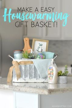 Tips and Tricks for making a beautiful Housewarming Gift Basket with both pretty and practical items including the new Softsoap® Décor Collection® liquid hand soaps. Welcome Home Gifts, New Home Gifts, Tips And Tricks, Easy Gifts, Homemade Gifts, Creative Gifts, Unique Gifts, Housewarming Gift Baskets, Homemade Housewarming Gifts