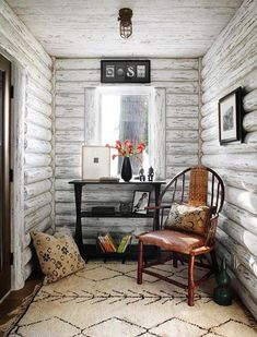 Lake Cabin-Wisconsin-Jessica Jubelirer White washed log cabin #RusticArchitecture