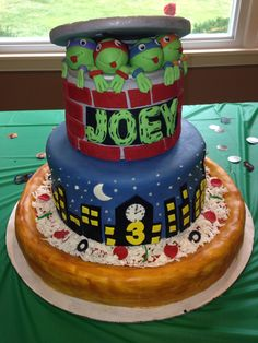 Teenage mutant ninja turtle birthday cake (TMNT)